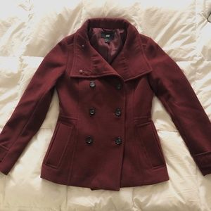 H&M • Burgundy Wool Coat